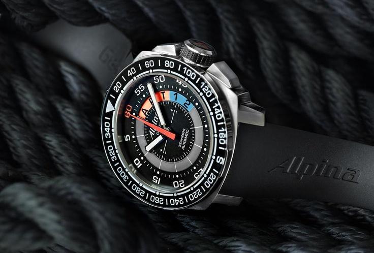 Alpina Yacht Timer // Este reloj náutico cuentan con una mecánica de cinco y 10 minutos en función de cuenta atrás, un compás de 360 ° en el bisel y una escala planificadora táctica en el dial. Además, como se trata de un reloj marinero de verdad, los relojes Alpinas son resistentes al agua hasta 300 metros bajo el nivel del mar. #Watch