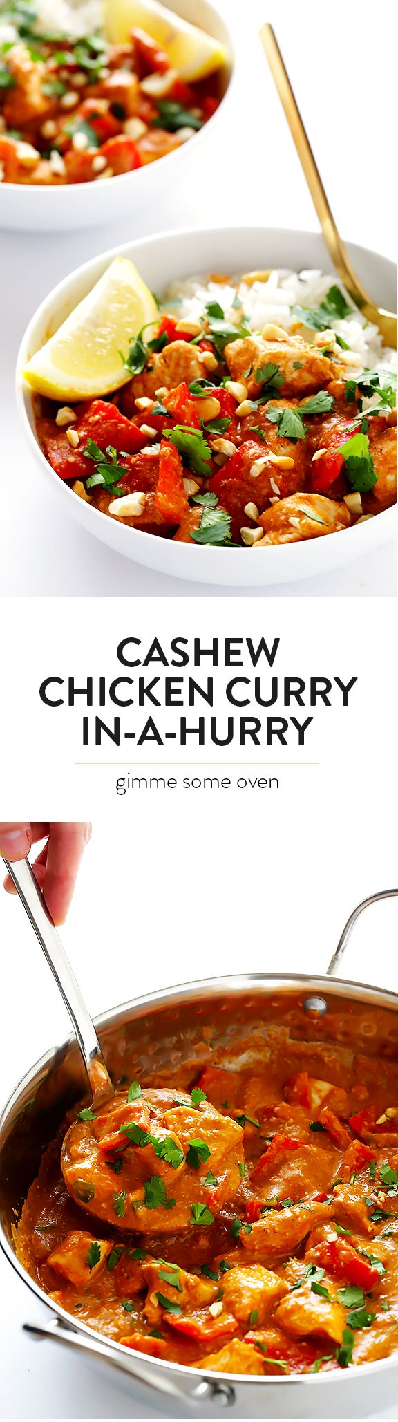 Cashew Chicken Curry (In A Hurry!) -- if you're craving Indian food, this delicious meal can be ready to go in less than 30 minutes! | gimmesomeoven.com