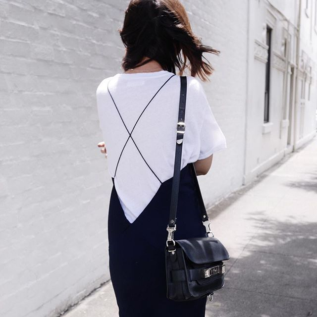 strapped black dress + white tee