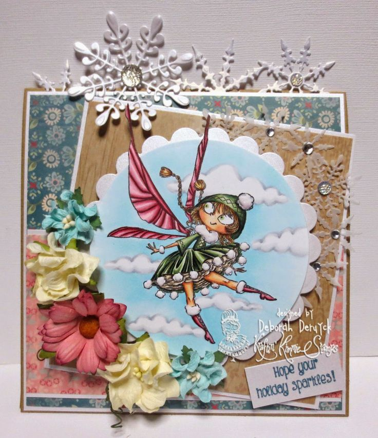 "Card featuring the ""Pompom fairy"" from Kraftin' Kimmie Stamps. Designed by Deborah Deruyck"