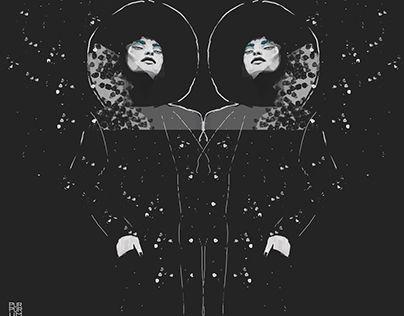 This is illustration for Calendar 2017 available on http://purpurum.com/calendar-2017/ Girls, twins at the night. Black Fashion.  The Night