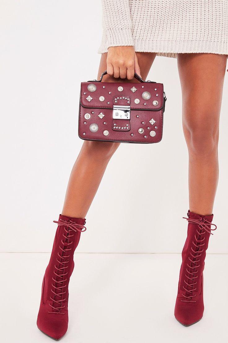 Gloria Burgundy Stud Detail Bag