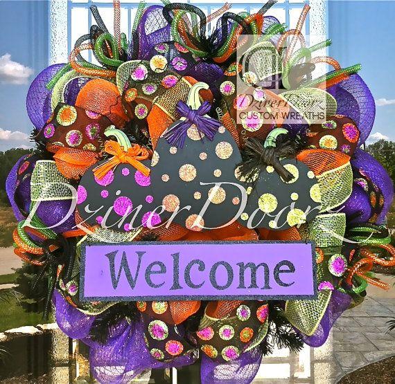 Polka Dot Pumpkin Welcome deco mesh Wreath by DzinerDoorz on Etsy, $90.00
