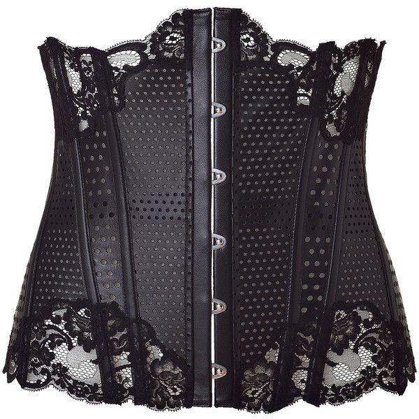 LA PERLA BY J.P.GAULTIER Black Leather Corset Belt With Lace Trim found on Polyvore