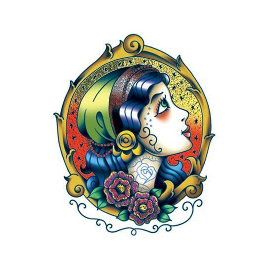 Old Time Gypsy Radiant Beauty Color Foil Temporary Tattoo
