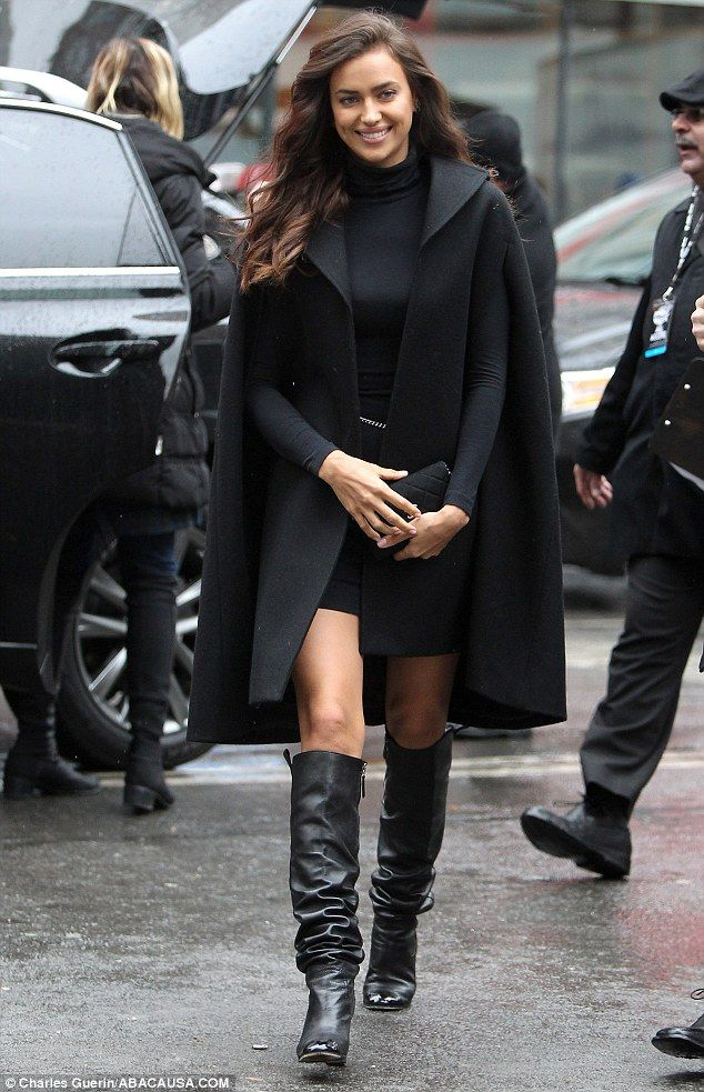 Wide smiles: Cristiano Ronaldo's ex-girlfriend Irina Shayk smiles as she arrives at Herald Square in New York for a Sports Illustrated event