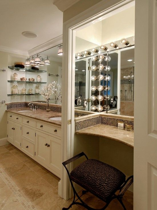 Nice master bathroom layout - I'd use different colours, but like the idea!