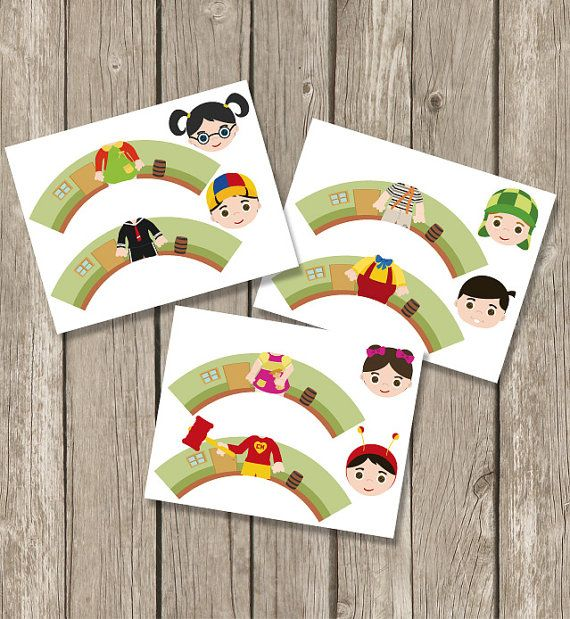 El chavo del ocho  Inspired Cupcake Toppers Wrappers Birthday Party Printables / Instant Digital Download DIY