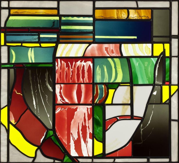 Panel of stained glass painted in black enamel and yellow stain and acid-etched, entitled 'Holland, Spring 1981': English, London, Dulwich, by Caroline Swash, 1981