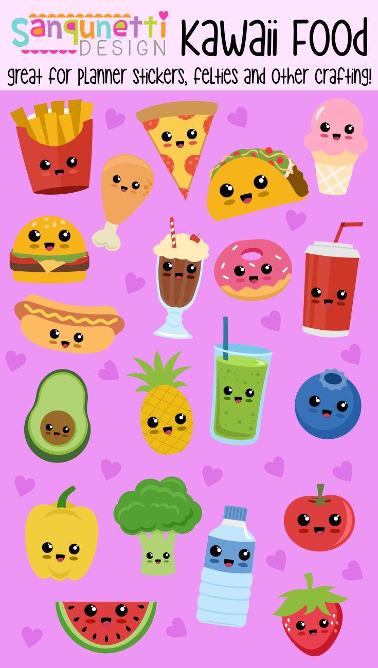 Cute kawaii health and junk food illustrations clipart ...