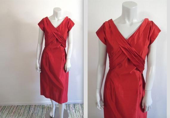 Vintage Late 50s Red Bombshell Gracette New York Dress Etsy York Dress Dresses Red Dress