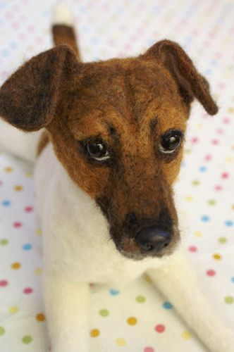 Needle felted Jack Russell Terrier by MidoFelt.