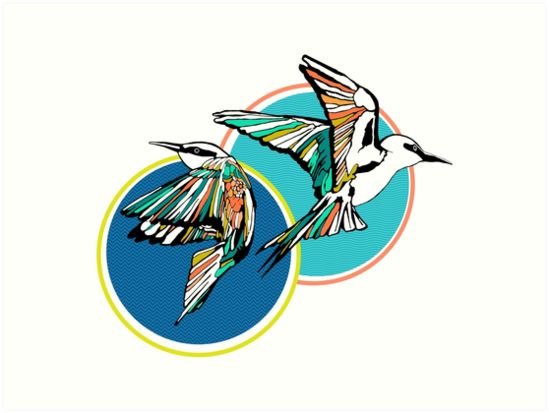 Rainbow Bee Eater Birds with Blue Graphics Giclée art print by Kerise Delcoure. This design is a bold and graphic depiction of two Rainbow Bee Eater birds in flight, overlapping against patterned blue graphics. The original artwork for this design is a pen and ink drawing which was graphically painted. Available at  https://www.redbubble.com/people/kerisedelcoure.