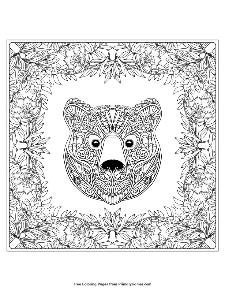 Fall Coloring Pages eBook Bear With Fall Leaves Fall