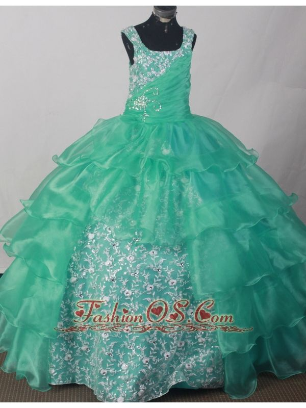 2013 Popular Sweetheart Flower Girl Pageant Dress With Appliques and Ruch Decorate Turquoise- $174.29  www.fashionos.com  glamorous and wonderful dresses for glitz pageants 2015 spring | new and charming dresses of baby miss in tourcoing | little girl pageant dress with corset back | 2013 fall discount little girls formal dresses |