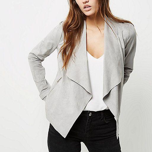 Grey faux suede waterfall biker jacket - jackets - coats / jackets - women