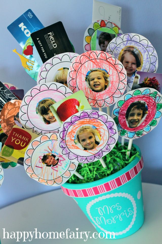 Make gift cards for teachers more personal with this sweet DIY flowerpot from the students. It holds lots of gift cards, plus photos of the kids. | the Happy Home Fairy