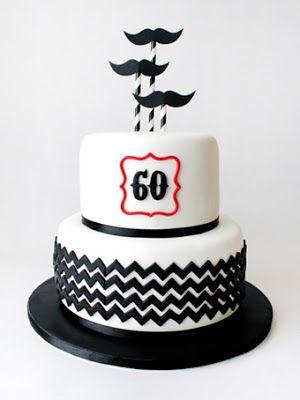 mustache chevron cake
