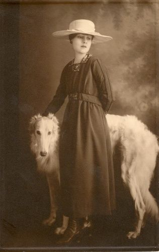 American novelist and Hollywood screen writing legend, Miss Anita Loos, with her Borzoi