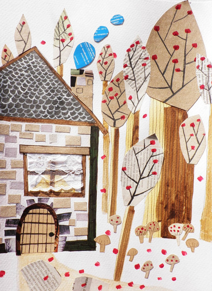 mushrooms, bricks and trees with brown paper collage