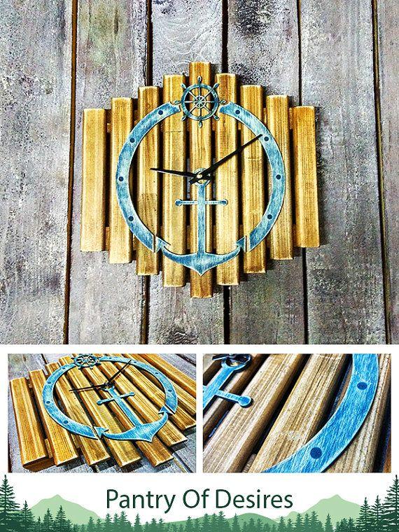 ocean clock anchor clock beach clock nursery decor  Pine wood wood clock Wall Clock retro wall clock Office Clock Wooden wall Clock
