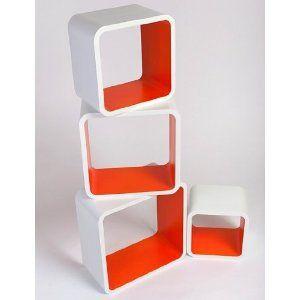 Retro Floating Shelves Bookcase Cubes Shelving NEW - Square White & Orange: Amazon.co.uk: Kitchen & Home
