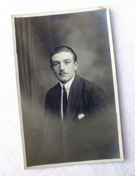Vintage French Handsome Man Portrait Postcard  by goodiesoldies