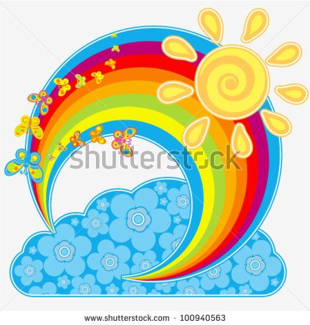 stock vector : Vector rainbow with butterflies (as well as sun and cloud with fl…