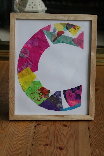 Eric Carle style Initial Art. Cool idea! from @imaginationtree