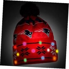 nfl new england patriots busy block printed light up beanie, one size, blue