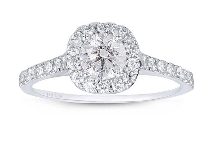 Diamond Studs Forever - Halo-Verlobungsring - 1,00 ct. Diamanten GH/I1 - Weißgold 14 Karat: Amazon.de: Schmuck