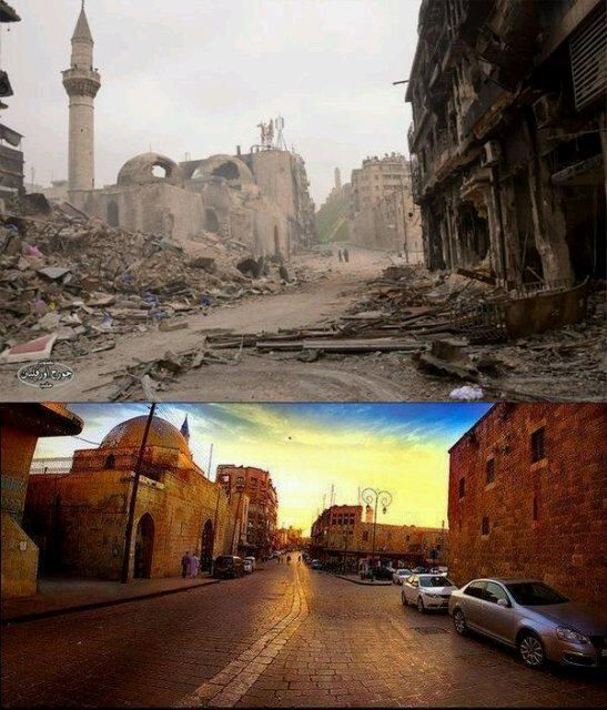 "Aleppo, Syria - Before and after... To become a ""ruinous heap"" just as the Bible states..."