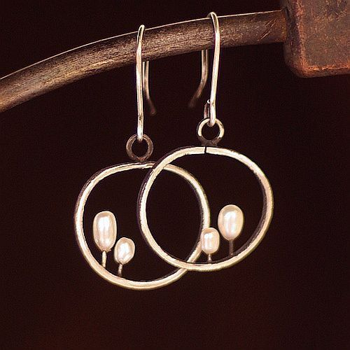 White pearls . Black sterling silver  earrings . by ewalompe