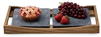 Hot and Cold Soapstone Serving Platter  Place the first soapstone platter in the freezer, and the second in the oven to serve up decadent pumpkin pie and ice cream, or a savory quiche and fruit. Once your dishes are prepared to their desired temperatures, the wood caddy protects the platters (and your table) and incorporates handles for carrying.  Afflink.