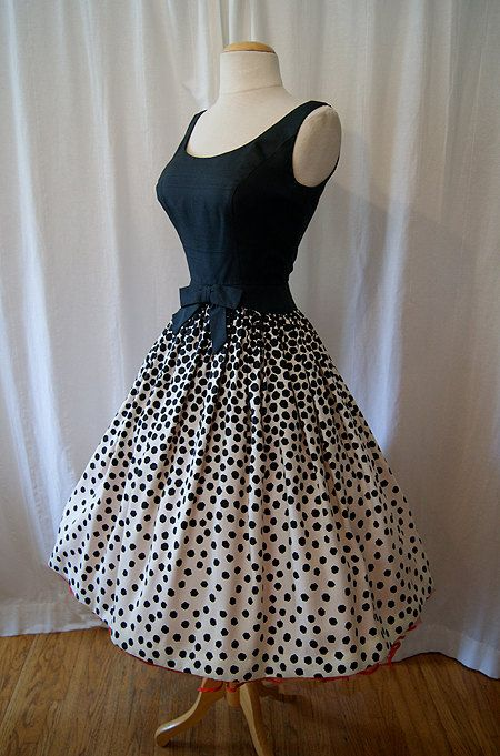 1950's vintage polka dot party dress