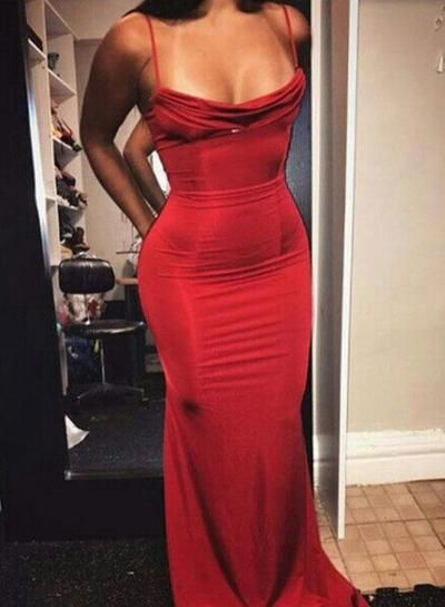 abb8642cd0 Sexy Mermaid Spaghetti Straps Red Satin Long Prom/Evening Dress from ...