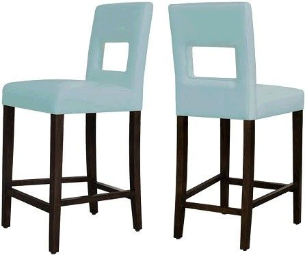 Oregon Wenge Bonded Blue Leather Counter Stool For The