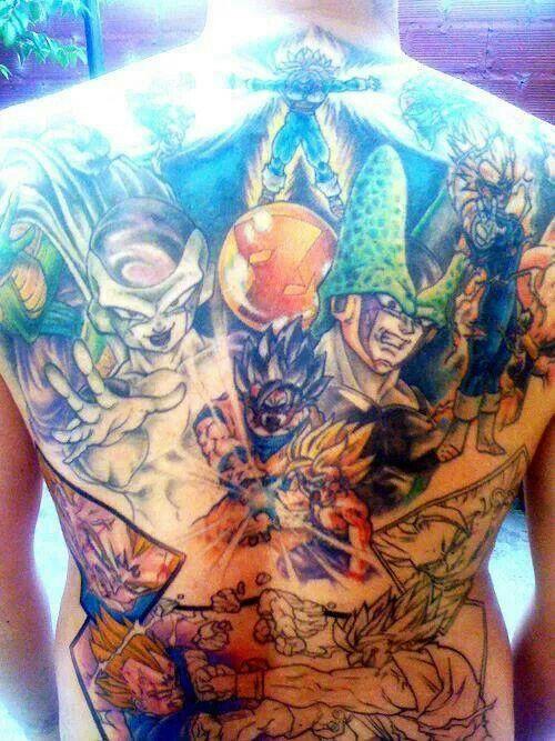 Dbz Full Back Tattoo Now That S Dedication And Saiyan Pride Breathing Canvas Pinterest