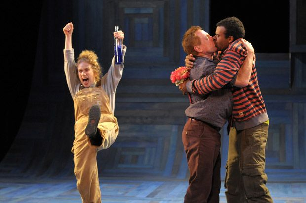 Joan Mankin as Snug, Danny Scheie as Bottom, and Lance Gardner as Flute in A Midsummer Night's Dream, 2009. #calshakes40th: Flute