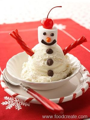 Make a scoop of vanilla snow-much fun!  FABULOUS sight for snowmen lovers  (super cute snowman ideas -- both for the home and the tummy!)