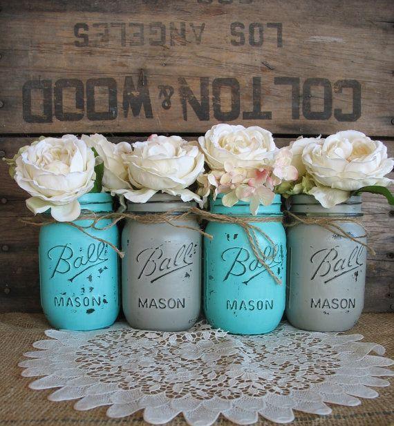 Mason Jars Ball jars Painted Mason Jars by TheShabbyChicWedding love the burlap tie on them