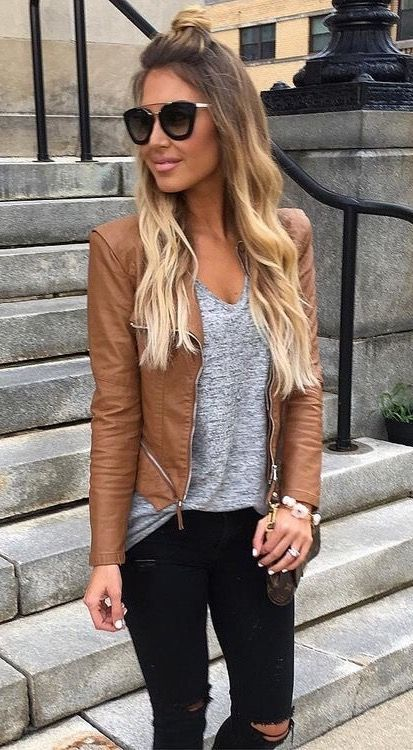 mocha leather jacket, concrete V-neck brindle shirt, chestlength ombré hair, black cateye shades, blush lips