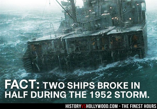 SS Pendleton in The Finest Hours Movie. Read 'The Finest Hours: History vs. Hollywood' at: http://www.historyvshollywood.com/reelfaces/finest-hours/