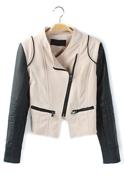 Paneled Sleeve PU Jacket OASAP.com