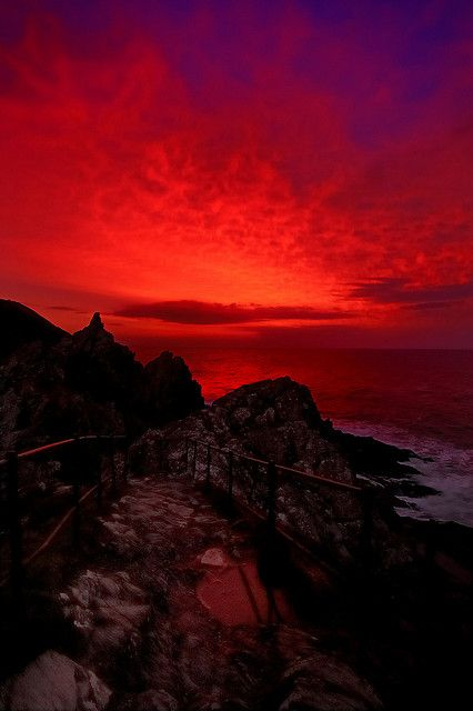 Fire over Cornwall, Sunrise over Polperro Harbour, Cornwall, England