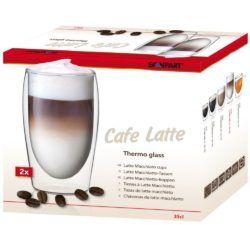 Termékleírás  Thermo Latte Macchiato kávé duplafalú pohár 2 db-os  Duplafalú üveg, trendi dizájnnal Manufakturális előállítással készült boroszilikát üvegből Használható mikrohullámú sütőben és tisztítható mosogatógépben A dupla üvegfal szigetelő hatása hosszabb ideig megtartja a pohárba töltött italok hőmérsékletét Átmérő: 6 cm (alsó) 7 cm (felső) Magasság: 15,0 cm 2 db-os kiszerelés