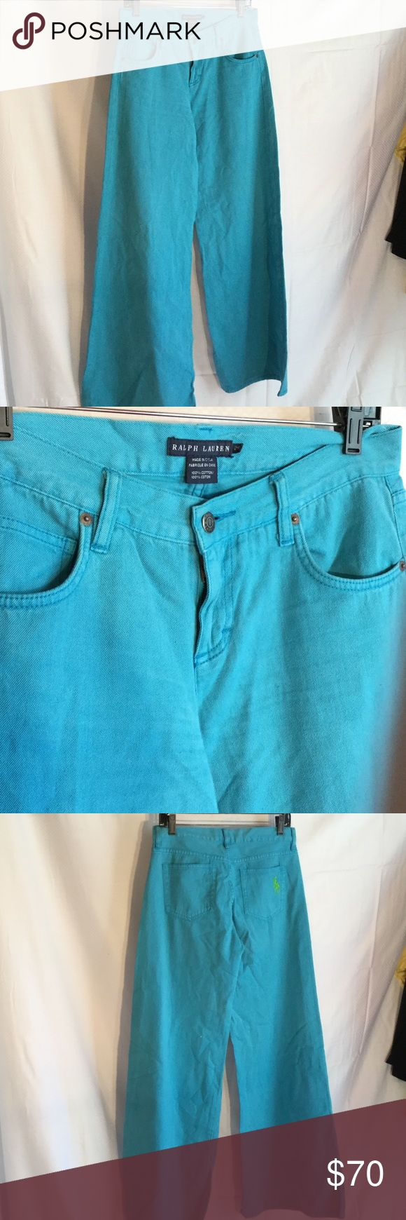 Ralph Lauren turquoise wide leg jean 28 never worn Ralph Lauren wide leg turquoise jeans with wide leg and large back pocket hoarse signature logo detail in lime green. Very cute jean for summer with a long inseam of 33.5 for tall ladies . Very cute and never worn Ralph Lauren Jeans Flare & Wide Leg