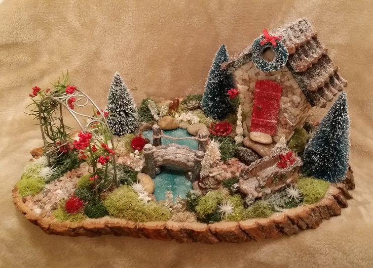 Fairy Garden, Christmas Fairy Garden, Winter Fairy Garden, Cardinal on the Mantel