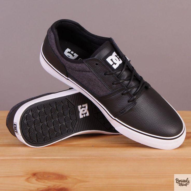 Czarne męskie buty sportowe skórzane na białej podeszwie DC Tonik XE Black / www.brandsplanet.pl / #dc shoes #skateboarding