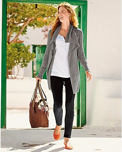 #airportoutfit Airport travel uniform. Flats, black pants, tee, cardigan-needs a big luxe scarf though. Long Drape Cardigan and Ponte Skinny Pants | Eddie Bauer